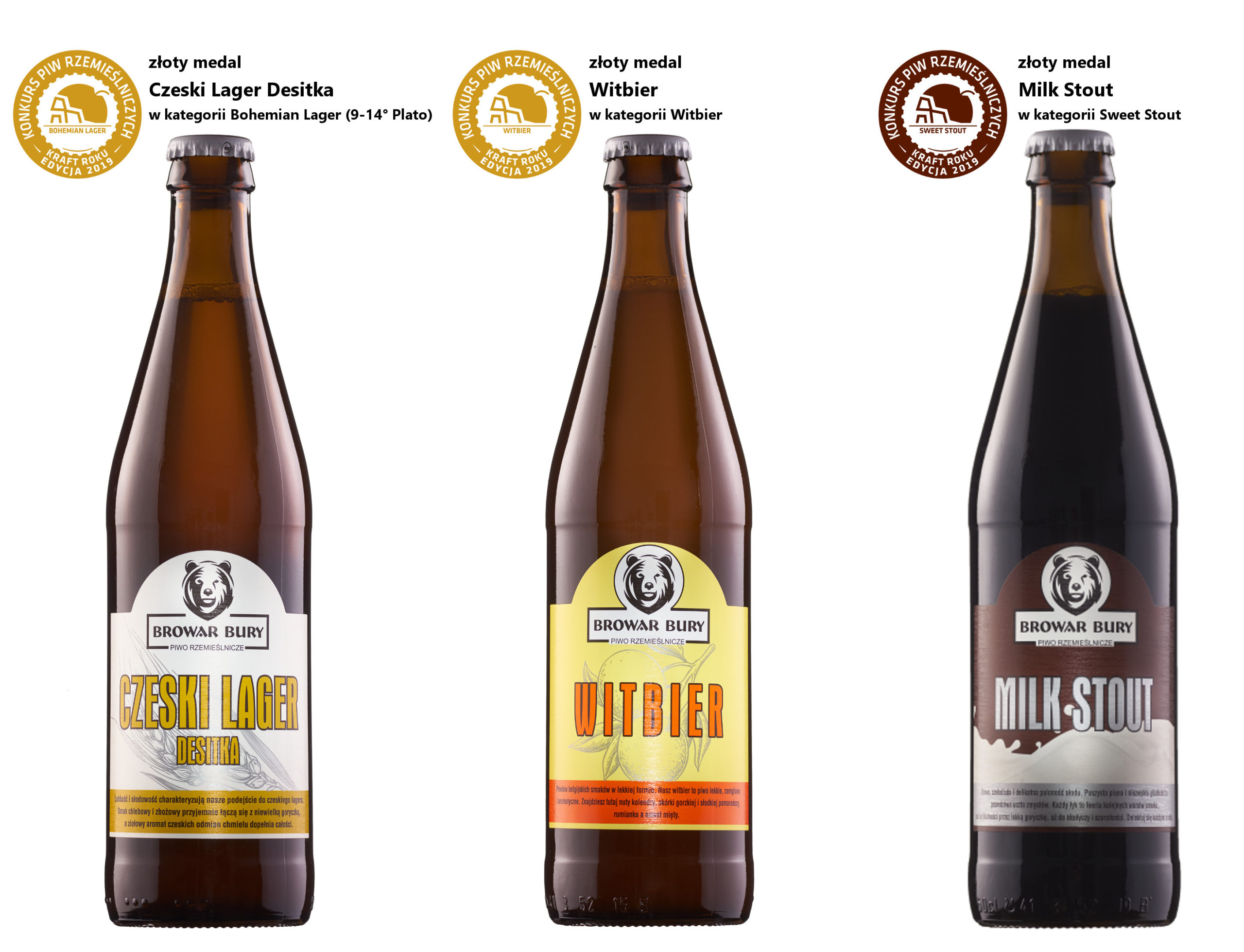 Trzy medalowe piwa